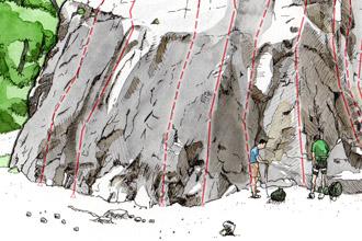 Illustations : topos de sites d'escalade