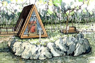 """Illustration du projet """"les cabanes d'Échassières"""""""